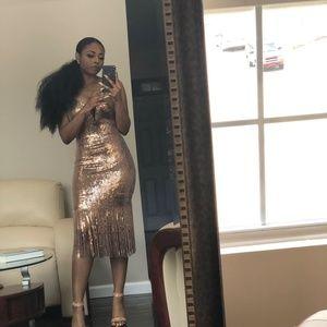 Gold Cocktail Fringe dress